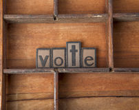 The word Vote in wooden typeset. Stock Photo