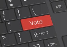 The word Vote written on the keyboard. The word Vote written on a red key from the keyboard Stock Images