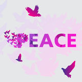 Word Vrede en duif De affiche van de vredesdag Royalty-vrije Stock Foto