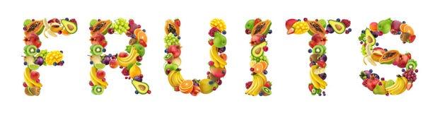 Word VRUCHTEN van verschillende vruchten en bessen worden gemaakt die stock fotografie