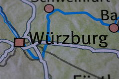 The word WÜRZBURG on the map Royalty Free Stock Photos