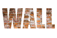 Word WALL over wall of red bricks. Background Stock Photo