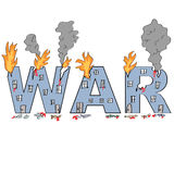 Word `WAR` drawn in damaged buildings style Royalty Free Stock Photo
