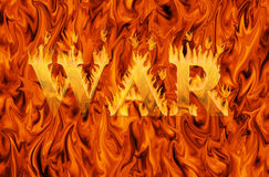 Word war engulfed in flames on infernal background. Concept of danger and hardship of war Stock Photo