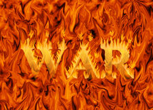 Word war engulfed in flames. On infernal background - concept of destruction and danger of war Royalty Free Stock Image