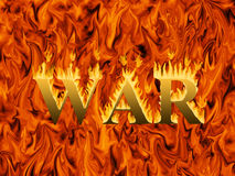 Word war engulfed in flames on infernal background. Concept of destruction and hardship of war Stock Image