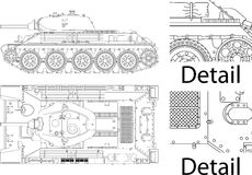 Word war II tank. High detailed vector illustration of T34 - WWII Russian tank - side and top view Stock Images
