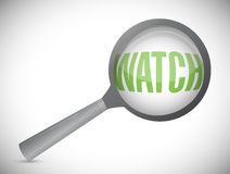 Word watch under a magnifier. illustration design. Over white Stock Photography