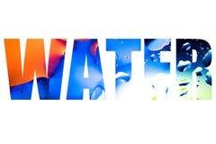 Word WATER over Dichte omhooggaand van luchtbel met kleurrijke achtergrond Royalty-vrije Stock Afbeeldingen