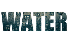 Word WATER over drops of water on a color background. Gray. Shal Royalty Free Stock Photos
