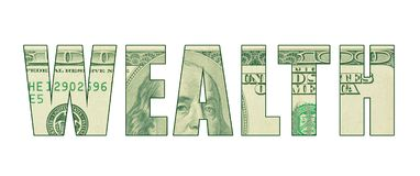 The word `WEALTH` with the texture of money stock illustration