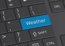 The word Weather written on the keyboard. The word Weather written on a blue key from the keyboard Royalty Free Stock Photography