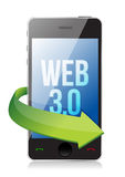 Word Web 3.0 on a cell phone, seo concept. Illustration design Royalty Free Stock Image
