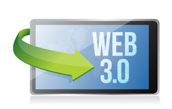 Word Web 3.0 on a tablet, seo concept Stock Image