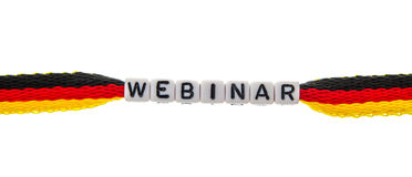 Word webinar from cubes on German Flag Stock Image