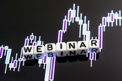 Word webinar from letter on candlestick chart Royalty Free Stock Photography