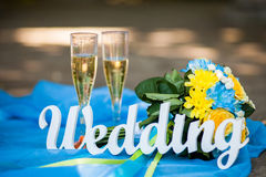 The word Wedding and bridal bouquet Royalty Free Stock Image