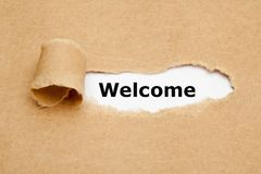 Welcome Torn Brown Paper Concept Royalty Free Stock Images