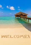 Word Welcome on beach Royalty Free Stock Photos