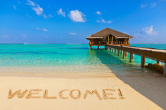 Word Welcome on beach stock photos
