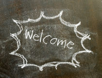 The word welcome in bubble sign. Background royalty free stock photos