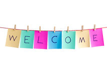 Word welcome clip on note page Royalty Free Stock Image
