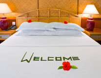 Word Welcome and flowers on bed Stock Photos