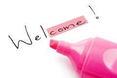 The word welcome highlighted in pink Stock Image