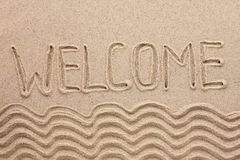 Word welcome written on the sand Stock Photography