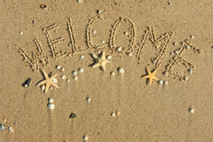 Word welcome written on the sand Royalty Free Stock Image