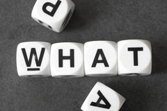 Word what on toy cubes. Word what on white toy cubes Royalty Free Stock Image