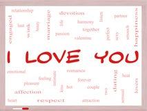 Σ' αγαπώ έννοια σύννεφων του Word σε ένα Whiteboard Στοκ Φωτογραφία