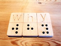 Braille Domino. Word WHY made using Braille Dominos royalty free stock photos