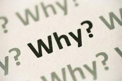 Word why printed on paper macro. Word why printed on white paper macro Stock Image