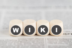 The word wiki on cubes Stock Image