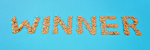 The word Winner is laid out of starry confetti on a blue background.  royalty free stock images