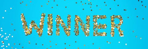 The word Winner is laid out of starry confetti on a blue background.  stock photo