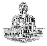 Word wolk in de vorm van een mens wordt samengesteld die yogameditatie doen die Royalty-vrije Stock Foto's