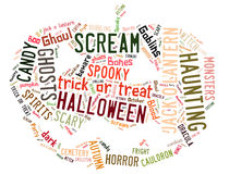 Word Wolk die Halloween behandelen stock afbeelding