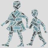 Word wolk met betrekking tot Werelddag tegen Kinderarbeid Stock Foto's