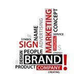 Word Wolk met het brandmerken van markeringen, bedrijfsconcept Stock Foto's