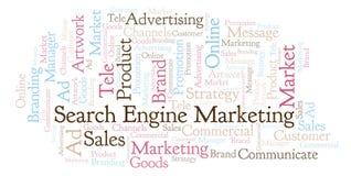 Word wolk met tekstzoekmachine Marketing vector illustratie