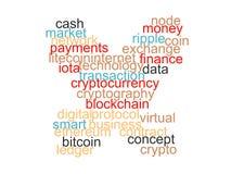 Word wolk van bitcoin, cryptocurrency, virtueel geïsoleerd geld stock illustratie