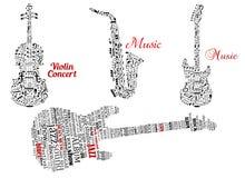Word wolken en nota's in vorm van gitaren, viool Stock Afbeeldingen
