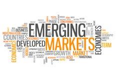 Word Wolken Nieuwe Markten stock illustratie