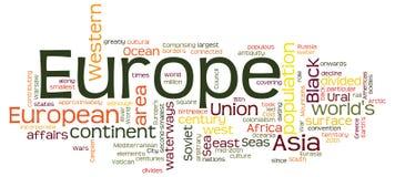 Word wolkenconcept Europa Stock Afbeeldingen