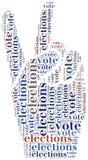 Word wolkenillustratie met betrekking tot verkiezingen of stemming Stock Afbeeldingen