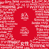 The word woman, written in the different languages around the shape of number 8 stock illustration