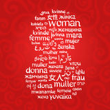 The word woman, written in the different languages in the shape of number 8 Royalty Free Stock Photography