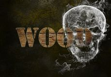 Word wood. Wooden grunge word wood on black dotted background vector illustration
